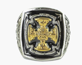 Gents Gold Edition Florenzada Cross Ring Stainless Steel Motorcycle Jewelry