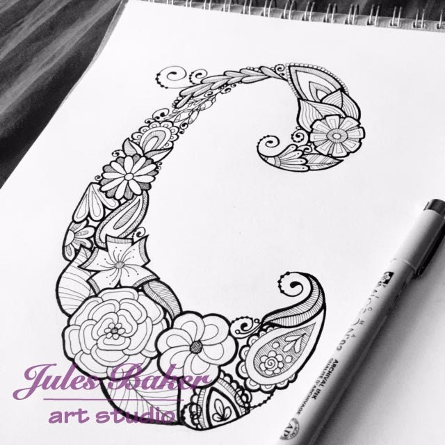 Digital Coloring Page Letter C From