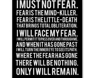 Litany Against Fear, From Frank Herbert's Dune Book Series, Canvas