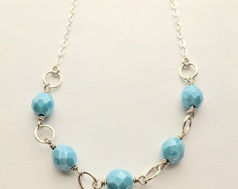 Light Blue Faceted Czech Glass Necklace with Silver Jump Rings and Sterling Silver Chain, Blue Fire Polished Glass, Wedding Jewelry, Modern