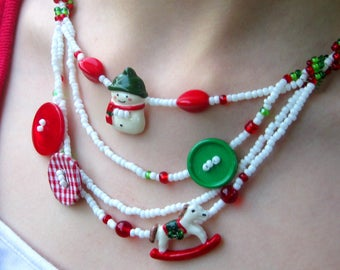 Christmas Seed Bead Necklace Tutorial – Seed Bead Pattern – Necklace Pattern – Christmas Jewelry – Beading Tutorial – Christmas Necklace