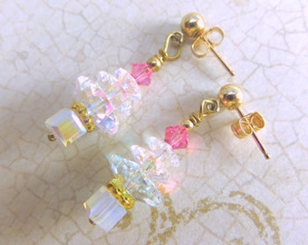 Christmas Tree Earrings in Swarovski Crystal AB and Pink on 14k gold fill posts