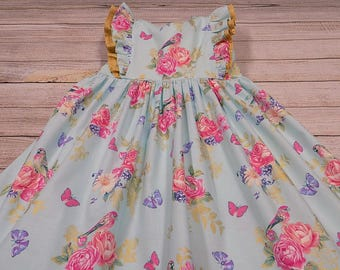 Size 5, Girls, Easter Dress, READY to SHIP, Spring Dress, Floral Dress, Blue, Pink, Gold, Butterflies, Birthday, Church, Granddaughter, RTS