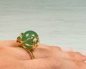 Jade Ring, Gem Ring, Solitaire Ring, Gold Plated Ring, 14K, Wire Wrapped Ring, August Birthstone, Chic Jewelry