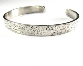 SPECKLES Men's Sterling Silver Cuff Bracelet, Gift for Him, Unisex Jewelry, Textured