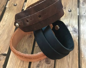Wide Leather Cuff Colorful Leather Bracelet Men's Gift Leather Jewelry Bracelets Husband Boyfriend Dad Groomsmen Gift under 30 Holiday