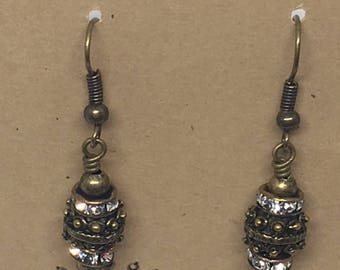 E1860:  Antique Brass Rhinestone Dangle Earrings