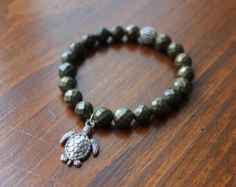 TORTOISE SHELL bracelet. Earth heart