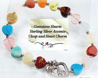 Heart Bracelet, Southwestern Gemstone Bracelet, Chakra Jewelry, Sterling Silver Clasp -  B2007-BB
