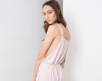 Striped Romper , Relaxed fit Jumpsuit , White with black stripes, Womens Overalls, RED. Summer Romper Women