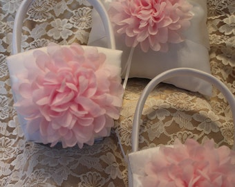 2 WHITE or CREAM Satin Flower Girl Basket with Pale Pink and 1 Ring Bearer Pillow