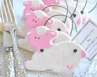 Lamb Baptism Favors Pink or Blue UNpersonalized Salt Dough Ornaments / Christening Gifts Set of 6