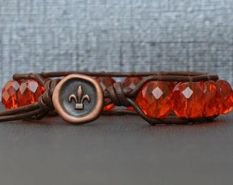 deep orange crystal on dark brown leather single wrap bracelet - stacking bangle - boho gypsy bohemian yoga jewelry