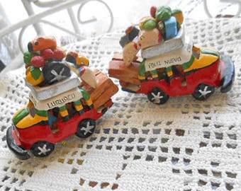 2 CLAY FRUIT TRUCKS Columbia Folk Art Pottery Travel Souvenirs Tiny People Coffee Sack Handmade Vibrant Painted Colors Market Day Ooak Gift