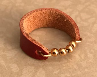 Red Leather & Gold Ring Size 8 3/4 - ALL PROFITS donated to the ACLU