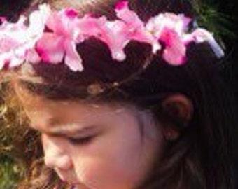 Pink Flower Crown Headband Blush Silk Floral Hair Wreath For Women and Children Adjustable Flower Halo