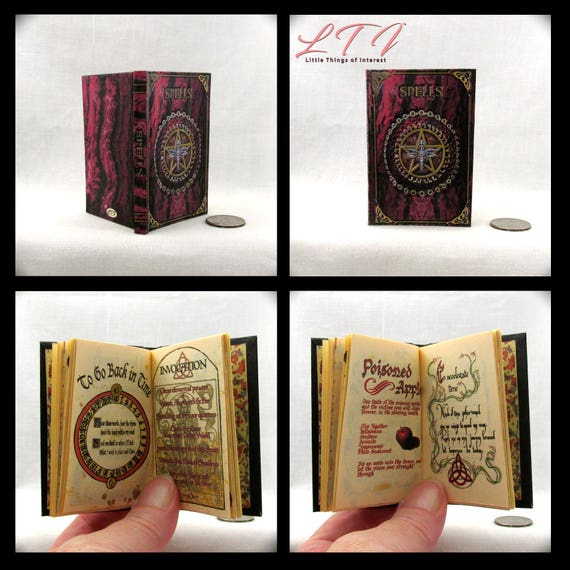BOOK OF SHADOWS Spell Book in 1:3 Scale Readable Illustrated Book American Girl Doll Accessories 18 inch Doll Potter Magic Witch Wizard