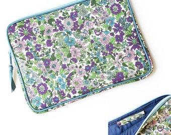 iPad Pro case, iPad case with Apple pencil holder  :  LIBERTY of london Emily (Purple) ,iPad Pro sleeve