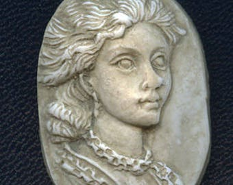 Faux Marble Polymer Clay Lady  Cab Un drilled ANG 1
