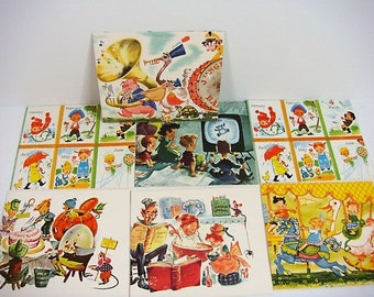 7 Children's Birthday Cards Novelty Birthday Cards Used 1960's