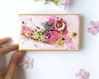 "Mini canvas, original tiny artwork, 5x3"""