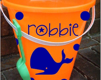 Personalized Name with Whale for YOUR Sand Bucket; vinyl decals