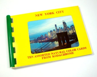 New York City Color Souvenier Photo Cards, Kodachrome Spiral Bound Album, Empire State Building, Statue of Liberty, Times Square  (193-15)