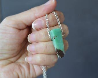 Chrysoprase Necklace, Chrysoprase Stick Necklace, Chrysoprase, Chrysoprase Jewelry, Canadian Shop, Christmas Gifts Under 20, Jewelry Gift