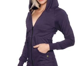 Women's ZIP-up Long Body Hoodie