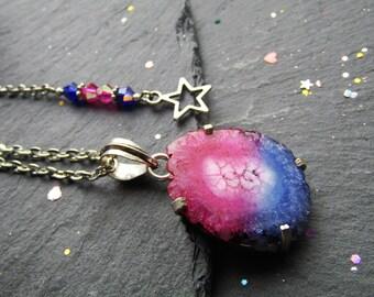 Blue and Pink Solar Quartz Necklace, Sliced Quartz Necklace, Druzy Pendant, Solar Quartz, Pink Blue Necklace, Geode Pendant, Sliced Agate
