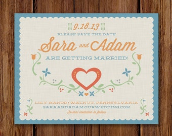Printable / Garden Party / Vintage Save the Date