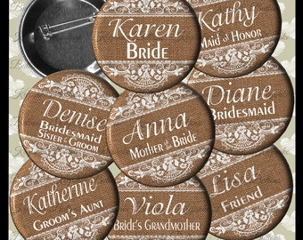Rustic Bridal Shower Burlap and Lace Image Buttons, Rustic Bridal Shower Buttons, Bachelorette Party, Country Wedding Party Buttons