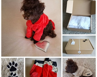 Doggy velour fleece dressing gown gift box (with FREE gift tag).
