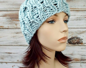 Blue Womens Hat Blue Hat Blue Beanie - Amsterdam Cable Beanie Mystical Pale Blue Knit Hat - Womens Accessories Winter Hat