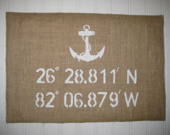 Latitude and Longitude Co-ORDINATES plus Ancor Burlap Pillow Cover - 12x18 - Shabby chic home decor, housewarming-Nautical