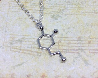 Dopamine Necklace, Molecule Necklace, Dopamine Charm, Molecule Pendant, Scientific Necklace, Charm Jewellery, Science Necklace, Geeky Gift