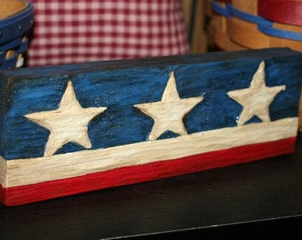Hand Carved Shelf Sitter - Hand Painted - Americana - SCOFG