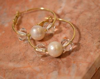 Cultured Pearl Crystal Hoop Earrings