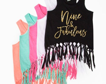 Nine and Fabulous - Fringe Tank Top - NINE - 9th Birthday - Birthday Girl - Girls Tank Tops - Summer Birthday - Ninth Birthday Shirt