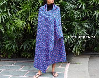 Blue Purple Masai Shuka - Maasai Blanket - African Fabric - Tribal Clothing - Beach Mat - Sofa Throw - Leso - Picnic Rug