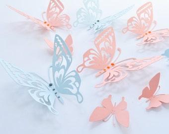 Salmon Blue Butterflies Paper Butterflies - Wall Paper Butterflies - 3D Paper Butterflies - Butterfly Decoration - Butterfly Birthday Décor