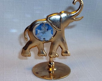 Elephant Figurine With Australian Crystal by Mascot 24 KT Gold Plated