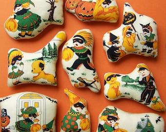 9 Retro HalloweenTrick or Treat Ornies Tucks Shelf Sitters Bowl Fillers Non Candy Gift Retro Home Decor