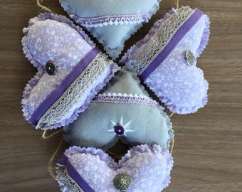 Grey and purple/lilac hanging heart garland heart bunting
