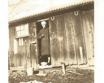 "Vintage Snapshot ""Sugar Shack"" Maple Sugar House Maple Syrup Rustic Cabin Found Vernacular Photo"