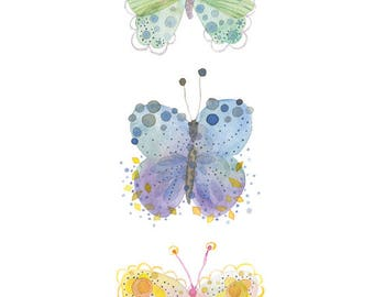 Whimsical butterfly illustration, Butterfly decor, Multicolor insect art, Watercolor insect, Butterfly art print, Kid room decor, Birth gift