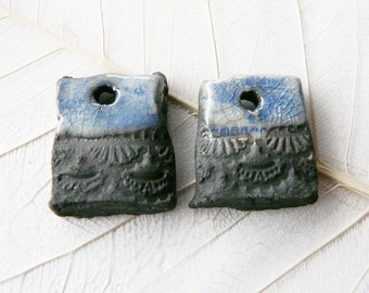 RESERVED for B * Not available * Duo charms raku pottery, enamel blue jeans and black lace pattern, unique piece