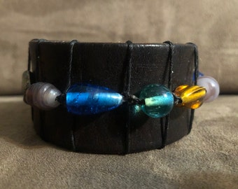 Glass Beaded Leather Cuff