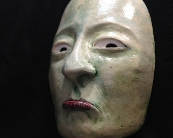 "I don't know and I don't care ""cucharita"" Mask - Ceramic Wall Mask Sculpture, One Of A Kind Home Decor Clay Face"
