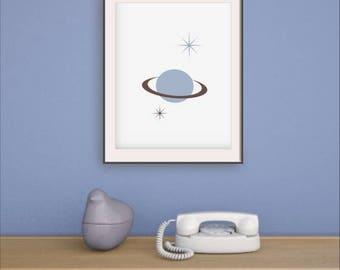 MCM wall art, Mid century printable, Retro print , Retro styled print, Saturn, 1960s art, Retro wall art, Planet, Abstract modern